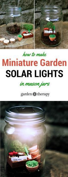 Miniature gardens in mason jars with solar light lids. So adorable! There are more to see in this article - I love the wine and cheese set. #spon