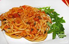 Ruccolás-Garnélás Spagetti – Wescher.hu Spaghetti, Ethnic Recipes, Food, Essen, Meals, Yemek, Noodle, Eten