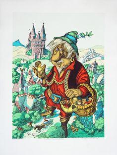 Hans Arnold - Jätten Mumburra på Tradera.com - Svenska litografier | Creepy Horror, Horror Stories, Troll, Color Inspiration, Fairytale, Woods, Illustrator, Coloring, Sweet