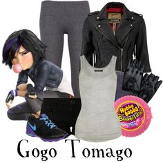 ♚: big hero six: gogo tomago. Casual Cosplay, Cosplay Outfits, Gogo Tomago, Disney Dress Up, Movie Inspired Outfits, Cut Clothes, Disney Bound Outfits, Fandom Fashion, Fandom Outfits