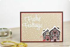 Selbstgemachte Weihnachtskarte mit dem Designerpapier Zuckerstangenzauber von Stampin' Up!. Ohne Stempel, no stamp