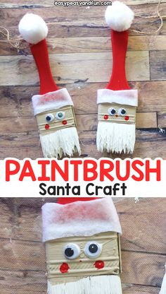 Paintbrush Santa Ornament - Fun recycled Christmas craft for kids or a DIY Christmas ornament to make christmascraftsforkidstomake Recycled Christmas Decorations, Christmas Crafts For Kids To Make, Preschool Christmas, Christmas Ornaments To Make, Craft Projects For Kids, Noel Christmas, Diy Christmas Gifts, Handmade Christmas, Holiday Crafts