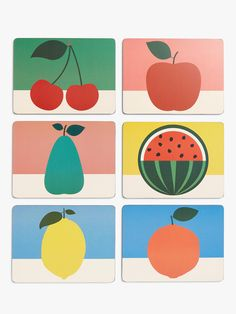 EAST END PRINTS Cork Backed Fruit Design Placemats, Set of 6, Multi at John Lewis & Partners Vegetable Drawing, Vegetable Print, Bold Colors, Colours, Fruit Pattern, Plates And Bowls, Fruit And Veg, Surface Pattern, Cork
