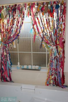 Sewing Curtains I braided and knotted these boho no-sew rag curtains with old sheets, curtains, tablecloths and misc. Hippie Curtains, No Sew Curtains, Drop Cloth Curtains, Beaded Curtains, Rod Pocket Curtains, Hanging Curtains, Bedroom Curtains, Mint Curtains, Patterned Curtains