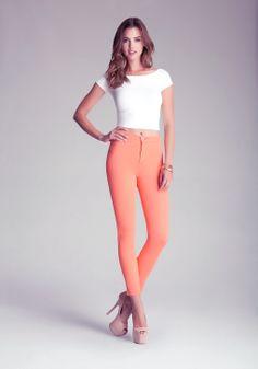Bebe High Waist Olivia Jeggings in Orange (honey) | Lyst