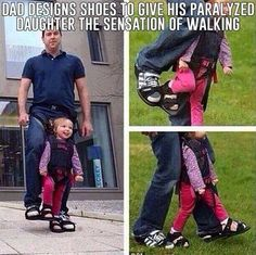 dad designs shoes to give his paralyzed daughter the sensation of walking