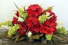 Hydrangea table arrangement | Centerpiece Arrangement Red Hydrangeas, Table Top Arrangement, Gift ...