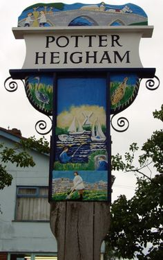 Photo of Village sign at Potter Heigham, Norfolk, by Barbara Whiteman - Pictures of England Royalty Free Stock Photos
