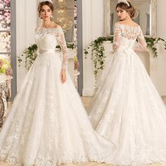 Long Sleeve Wedding Dress, Ball Gown Wedding Dress,Off the Shoulder with Beaded Sash A Line Long Sleeve Lace Wedding Dress 2016,XW3