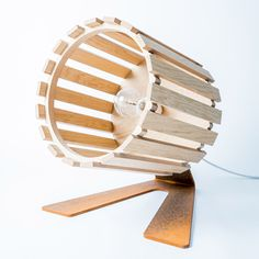 Sunset Light | lamp | European oak wood + rusted steel | design by Leon van Zanten