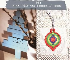 Christmas tree DIY from recycled wooden blocks & a perler beads christmas ornaments DIY by StudioZakka...