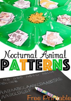 This free printable for exploring growing patterns with nocturnal animals is perfect for kids who are ready  for a bigger challenge with patterns