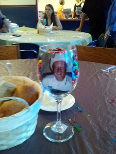 Wine glass centerpiece with picture and m's