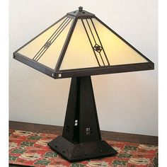 """Arroyo Craftsman Utopian Table Lamp Size: 16.13"""" H x 11"""" W, Finish: Satin Black, Shade Color: Clear Seedy"""