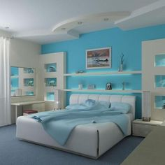 Bedroom Beach Bedroom Decorating Ideas Amazing Beach Themed Bedroom Cool Beach Bedroom Themes that Give New Fresh Nuance of a Room Blue Bedroom Colors, White Bedroom Design, Bedroom Color Schemes, Bedroom Themes, Bedroom Ideas, Bedroom Designs, Bedroom Decor, Colour Schemes, Wall Colors