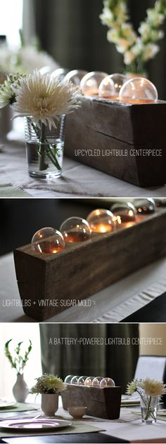 Create a unique centerpiece using recycled lightbulbs and vintage wood container with this step-by-step tutorial.