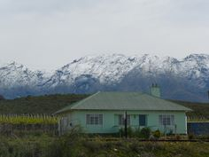 September snow near De Rust Big Sky Country, Lush Garden, West Coast, Cottages, South Africa, Landscapes, Houses, Mountains, Heart