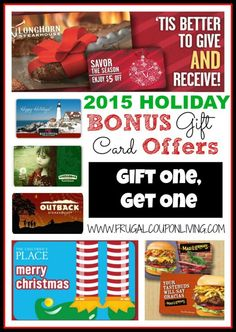 Holiday 2015 Bonus Gift Card Offers – Gift One Card, Get One Cards. Deals on Retail and Restaurant Coupons on Frugal Coupon Living.