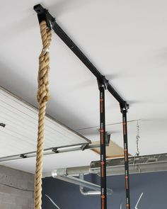 Mount our Gymnastic Rings, Climbing Rope or even a Heavy Bag right to your ceiling with this easy to install adjustable ceiling hanger system from Hammerhead Fitness