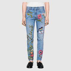 Gucci Men - Embroidered denim pant