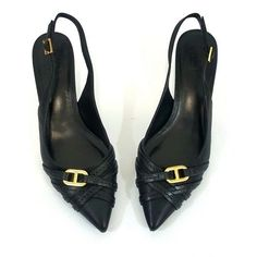 fa6fe6922b72 Tory Burch Black Leather Slingback Low Kitten Heels Garima 8 Medium  Fabulous!  fashion