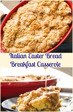 Italian Easter Bread Breakfast Casserole, an easy Cinnamon Breakfast Bake, a crunchy topping makes it Perfect, no need for an overnight soak. via @https://it.pinterest.com/Italianinkitchn/