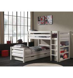 Superbe lit superposé d'angle de coloris blanc! Les 2 tiroirs pour le rangement sont utiles mais aussi trés discrets! Dimension: B/L 209,4 cm - H/H 140 cm -...