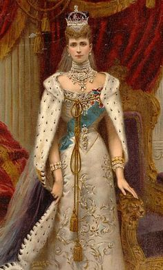 Queen Alexandra (1844-1925), wife of Edward VII of the United Kingdom dressed to attend the coronation of her husband June 26 1902. Published by the Illustrated London News and Sketch, Limited, 198 Strand, London WC in the Illustrated London News record of the coronation service and ceremony King Edward VII and Queen Alexandra, 1902 . Painting/Artwork signed Samuel Begg (1854-1919).