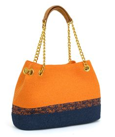 Orange & Navy Stripe Straw Tote Handbag