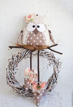 Купить Совушка в горошек для детской комнаты, интерьер детской - салатовый, совушка, сова теастильная, совушки