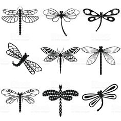 Dragonflies, black silhouettes on white background royalty free stockvectorbeelden