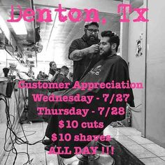 TODAY & TOMORROW!!! $10 CUTS $10 SHAVES ALL DAY!!! Only at Salon off the Square 120 E. McKinney !!! LETS GET FREEEEEESH !!!! #mateotxbarber #txbarber #DFW #salonoffthesquare #Dentontx #cuttinginhalf #hoodratnation # #dentonslacker #nochains #denton #dentoning #dentonite #thedentonite #offthesquare #doingitdenton #dentonlocaldentonproud #dentonsquare #unt #twu #lild #discoverdenton #scoutdenton #wedentondoit #wddi #onlyindenton #thisisdenton #wearedenton