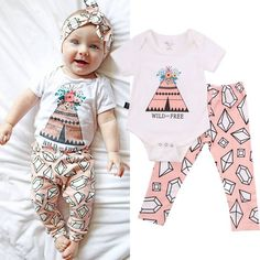 Baby Girl Teepee 2 Piece Sets