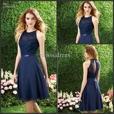 Sexy Navy Blue Bridesmaid Dresses 2015 Chiffon Lace A Line Halter Neckline Sleeveless Sash Keyhole Back Fomal Prom Party Dress Knee Length, $61.31 from faith_custom_made on m.dhgate.com | DHgate Mobile