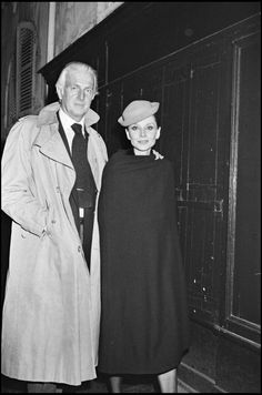 "The French fashion designer Hubert de Givenchy photographed with his muse, the actress Audrey Hepburn, after a dinner at ""Maxim's"". Paris (France), March 1979."