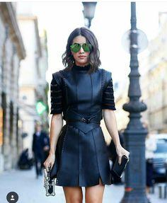 49502956c3c Camila Coelho wearing Louis Vuitton leather dress at Paris fashion week  (October