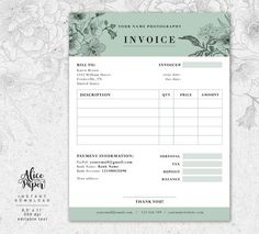 Invoice template, Photography invoice, Receipt template for Photographers, Business invoice, Photogr Receipt Template, Order Form Template, Invoice Template, Templates, Bill Template, Graphic Design, Invoice Format, Invoice Design, Texts