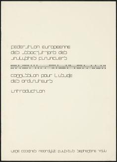 Wim Crouwel / Collectie NAGO, Fédération Européenne des Associations des Analystes Financiers. Commission pour l'usage des ordinateurs. Introduction, 1966