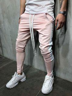 c4c82affb9683 Men Slim Fit Casual SideBand Sweatpants Joggers - Pink 3795