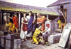 """Taller de artesano, Britannia, s. Ancient Pompeii, Ancient Art, Ancient History, Roman Man, Rome Antique, Renaissance, Roman Britain, Roman City, Medieval World"