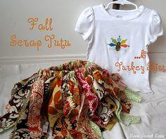 Fall scrap tutu & turkey shirt - why not make one for Christmas, valentine....