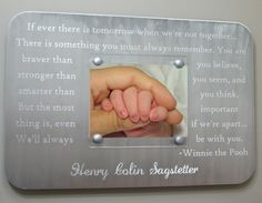Winnie the Pooh quote Engraved metal picture frame - perfect for a new baby's nursery!