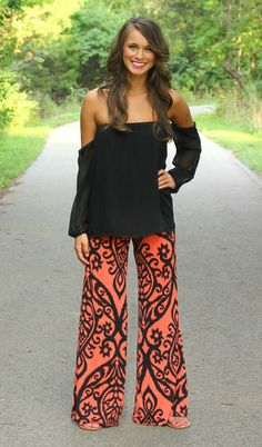 The Pink Lily Boutique - Dark Coral and Black Damask Palazzo Pants, $34.00 (http://thepinklilyboutique.com/dark-coral-and-black-damask-palazzo-pants/)