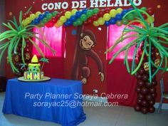 jorge el curioso 27 Curious George Party, Curious George Birthday, Birthday Cake, Birthday Parties, Safari Party, Balloon Decorations, First Birthdays, Balloons, Moana