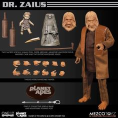 Mezco goes to.The Planet of the Apes! Leading member of the Ape National Assembly, the Collective Dr. Zaius is outfitted in a tunic shirt and overcoat Figurines D'action, Defender Of The Faith, Go Ape, Human Doll, The Originals Characters, Planet Of The Apes, Walking Canes, Geek Culture, Pop Culture