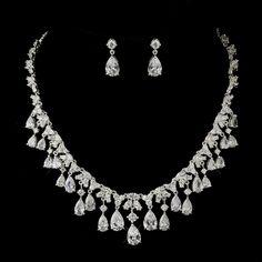 Silver Clear CZ Pear Drop Crystal Bridal Jewelry Set 71803