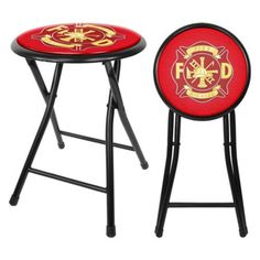 Surprising Trademark Global Fire Fighter 24 In Cushioned Folding Stool Beatyapartments Chair Design Images Beatyapartmentscom