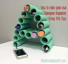 Make a Monogram Organizer Using PVC Pipe - Discover how easy it is to turn pieces of PVC pipe into a coll desk organizer. Don't have PVC pipe? You could use tin cans instead! (http://aboutfamilycrafts.com/make-a-monogram-organizer-using-pvc-pipe/)