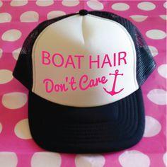 Boat Hair Don't Care Trucker Hat. Boat Hat. Boat Cap. Trucker Cap. Sailors Hat. Anchor Hat. Funny Boat Hat. by SoPinkUK on Etsy