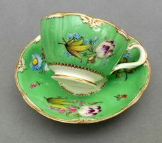 C19th Minton Tea Cup & Saucer ~ Hand Painted Floral Green Ground